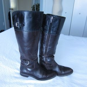 Black and Brown Riding Boots 6.5 M Wide Calf